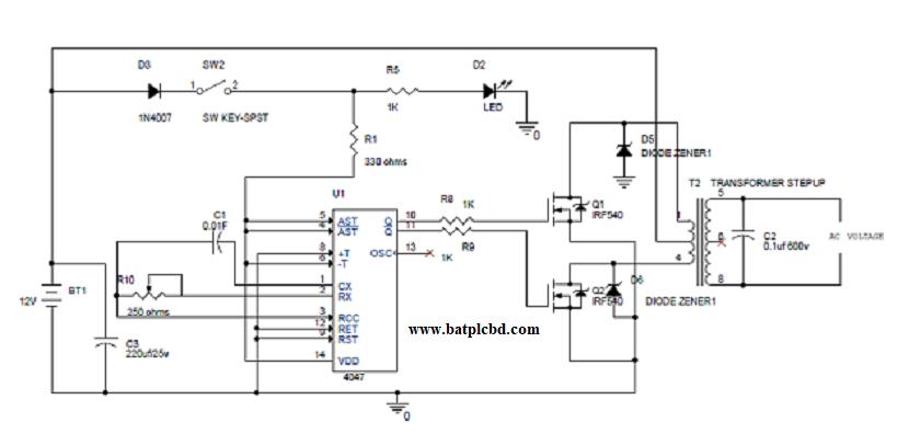 Bat Simple 100w Inverter Circuit Diagram